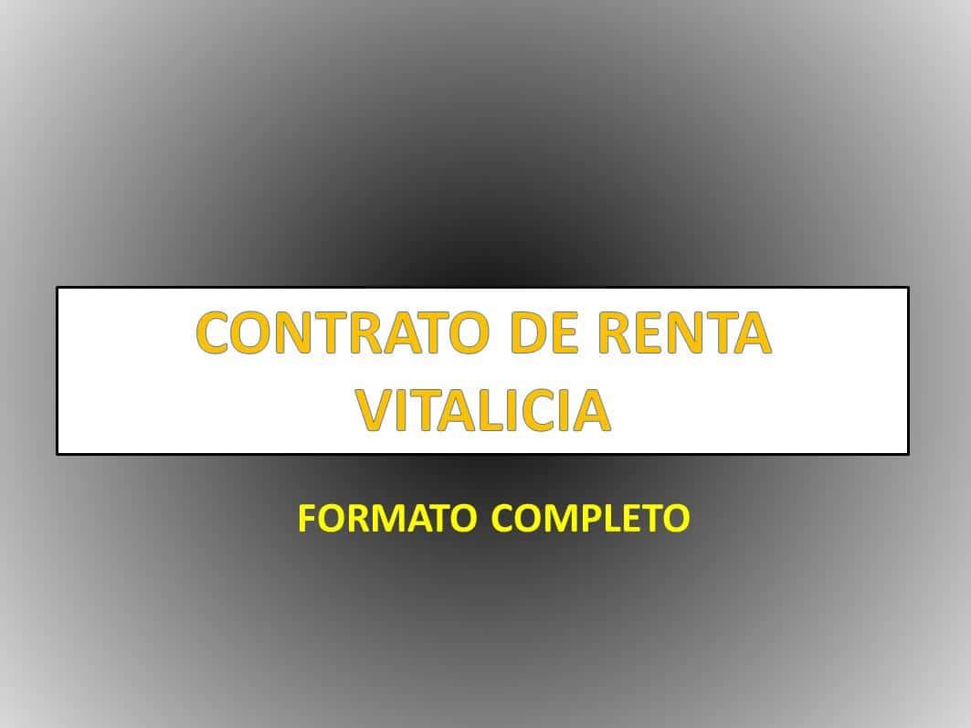 CONTRATO DE RENTA VITALICIA - derechomexicano.com.mx