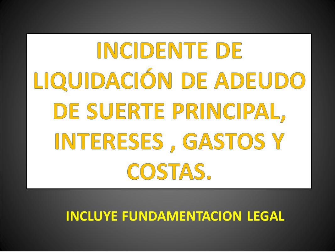 INCIDENTE DE LIQUIDACIÓN DE ADEUDO DE SUERTE PRINCIPAL, INTERESES ...
