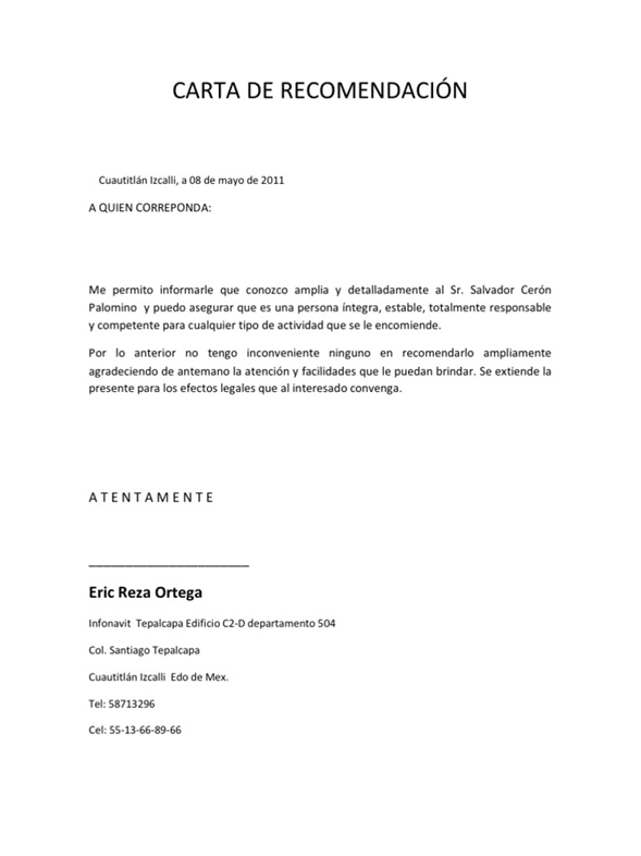 Ejemplo Carta recomendación expedida por una empresa para un Empleado