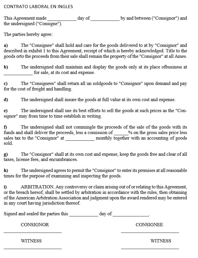 Formato Contrato Laboral En Ingles